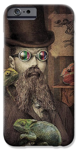 Beard iPhone Cases - The Chameleon Collector iPhone Case by Eric Fan