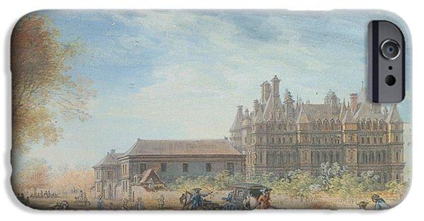 Figures Paintings iPhone Cases - The Chateau de Madrid iPhone Case by Louis-Nicolas de Lespinasse