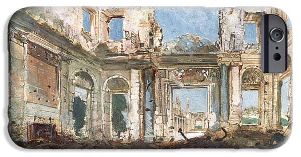Remnant iPhone Cases - The Chateau de Saint-Cloud after the Fire  iPhone Case by Pierre Tetar van Elven