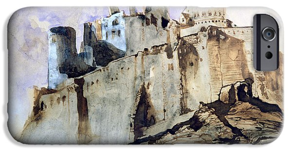 Abstract Expressionist Drawings iPhone Cases - The Chateau of Vianden iPhone Case by Victor Hugo