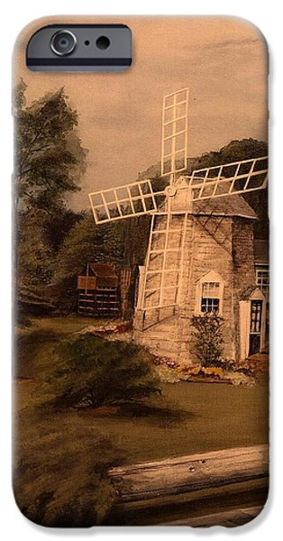 Chatham Mixed Media iPhone Cases - The Chatham Windmill Cape Cod MA iPhone Case by Diane Strain