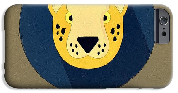 Cheetah Digital Art iPhone Cases - The Cheetah Cute Portrait iPhone Case by Florian Rodarte