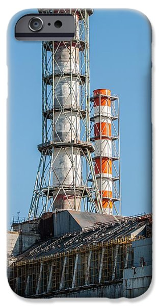 Explosion Pyrography iPhone Cases - The Chernobyl Nuclear power plant iPhone Case by Oliver Sved