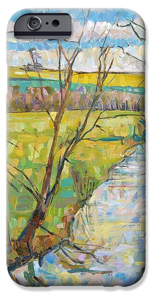 River iPhone Cases - The Cherwell From Rousham Ii Oil On Canvas iPhone Case by Erin Townsend