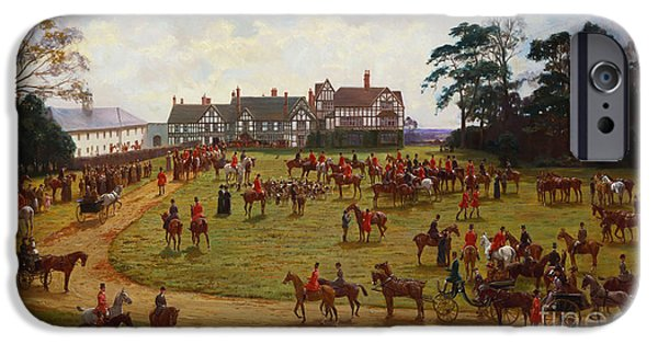 Pastimes iPhone Cases - The Cheshire Hunt    The Meet at Calveley Hall  iPhone Case by George Goodwin Kilburne