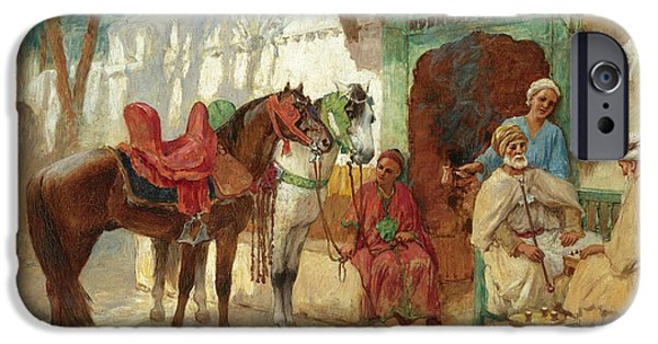 Chess Players iPhone Cases - The Chess Players iPhone Case by Frederick Arthur Bridgman