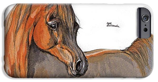 Chestnut Horse iPhone Cases - The Chestnut Arabian Horse 2a iPhone Case by Angel  Tarantella