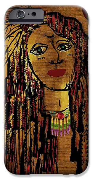 Brave Mixed Media iPhone Cases - The cheyenne indian warrior Brave Wolf pop art iPhone Case by Pepita Selles
