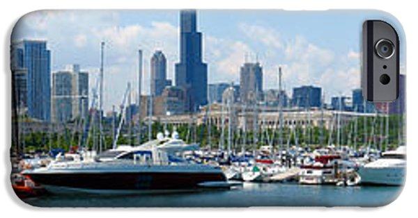 Soldier Field iPhone Cases - the Chicago Skyline with Burnham Harbor and Soldier Field iPhone Case by Wernher Krutein
