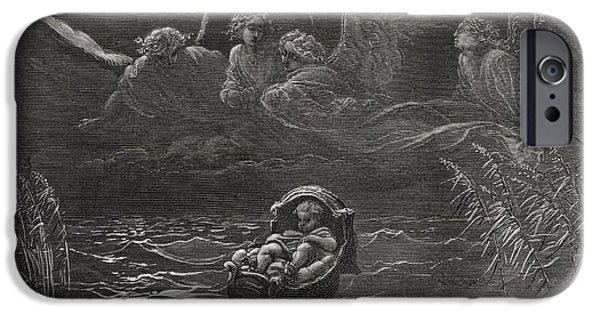 Religious Drawings iPhone Cases - The Child Moses on the Nile iPhone Case by Gustave Dore