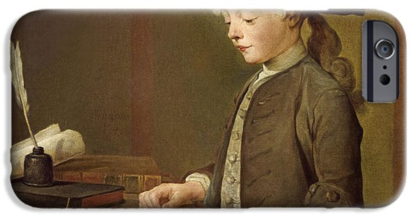 Quill iPhone Cases - The Child With A Teetotum, Portrait Of Auguste-gabriel Godefroy 1728-1813 1741 Oil On Canvas iPhone Case by Jean-Baptiste Simeon Chardin