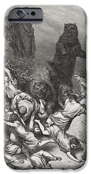 Child Drawings iPhone Cases - The Children Destroyed by Bears iPhone Case by Gustave Dore