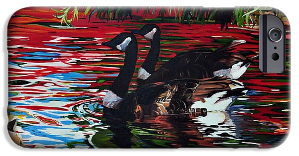 Canadian Geese Paintings iPhone Cases - The Chingcousy Lovers 1 iPhone Case by Henny Dagenais