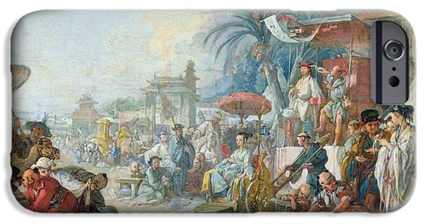 Birdcage iPhone Cases - The Chinese Fair, C.1742 Oil On Canvas iPhone Case by Francois Boucher