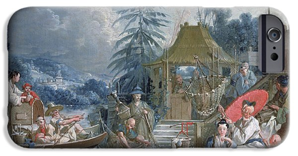 Basket iPhone Cases - The Chinese Fishermen, C.1742 Oil On Canvas iPhone Case by Francois Boucher