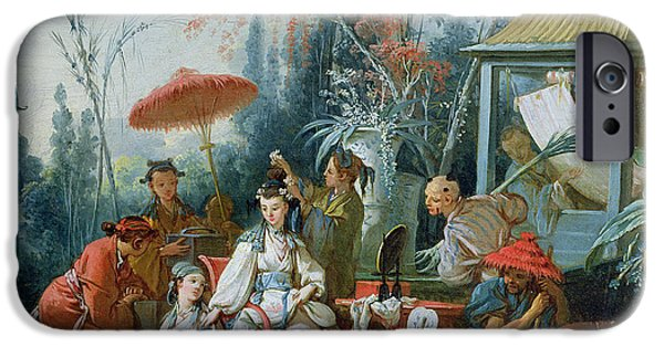 Labour iPhone Cases - The Chinese Garden, C.1742 Oil On Canvas iPhone Case by Francois Boucher