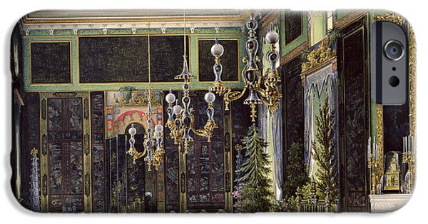 Fir Trees iPhone Cases - The Chinese Room In The Great Palais In Tsarskoye Selo Wc, Gouache And Ink On Paper iPhone Case by Eduard Hau