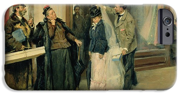 Shop Window iPhone Cases - The Choice Of Wedding Presents, 1897-98 Oil On Canvas iPhone Case by Vladimir Egorovic Makovsky
