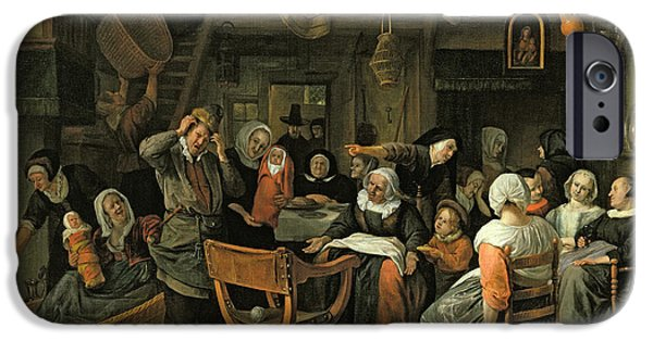 Interior Scene iPhone Cases - The Christening Feast, 1668 Oil On Canvas iPhone Case by Jan Havicksz. Steen
