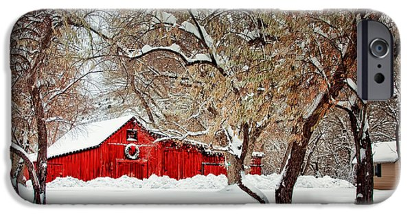 Snow Scene iPhone Cases - The Christmas Barn iPhone Case by Teri Virbickis