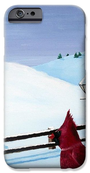 The Christmas Cardinal iPhone Case by Spencer Hudon II