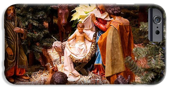 Christmas Greeting iPhone Cases - The Christmas Creche at Holy Name Cathedral - Chicago iPhone Case by Frank J Casella