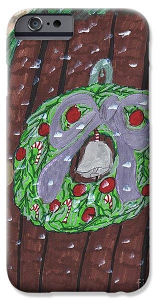 Snowy Night Mixed Media iPhone Cases - The Christmas Door Wreathe iPhone Case by Elinor  Rakowski