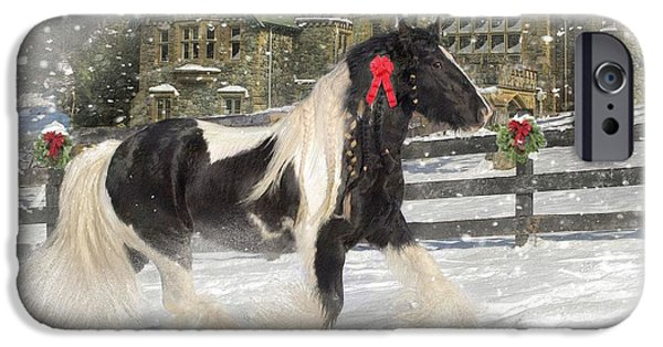 Card Mixed Media iPhone Cases - The Christmas Pony iPhone Case by Fran J Scott