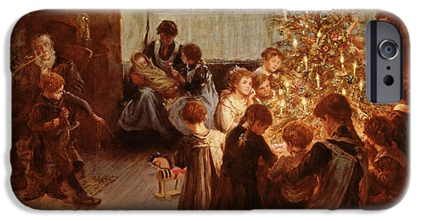Celebration Paintings iPhone Cases - The Christmas Tree iPhone Case by Albert Chevallier Tayler