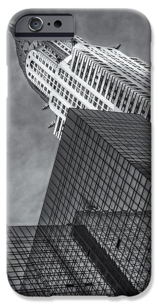Chrysler iPhone Cases - The Chrysler Building BW iPhone Case by Susan Candelario