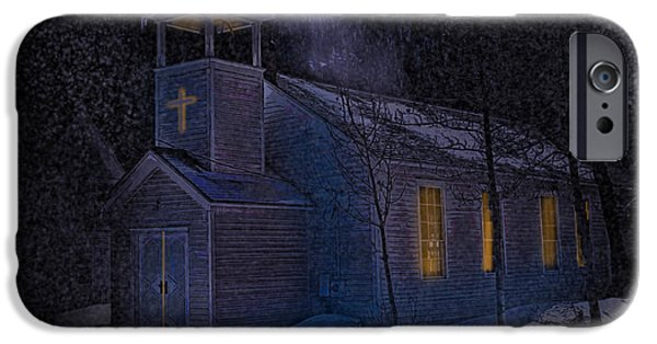 Snowy Night Digital iPhone Cases - The Church at Silver Plume Colorado iPhone Case by J Griff Griffin