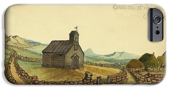 Fence Drawings iPhone Cases - The Church at Thingvalla Iceland Circa 1862 iPhone Case by Aged Pixel