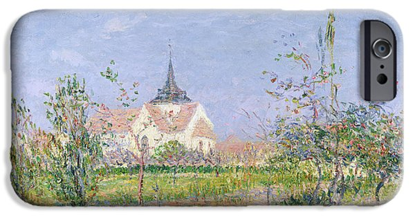 Lanscape iPhone Cases - The Church at Vaudreuil iPhone Case by Gustave Loiseau