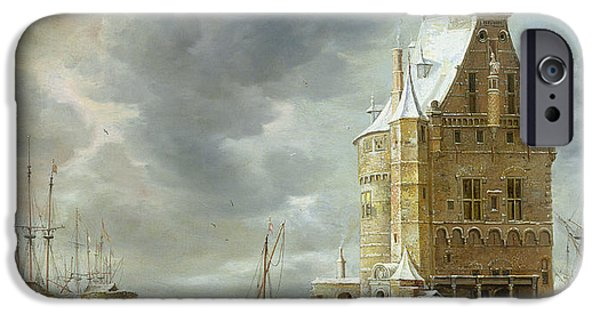 Ice-skating iPhone Cases - The City Gate Of Hoorn Oil On Canvas iPhone Case by Jan Abrahamsz. Beerstraten