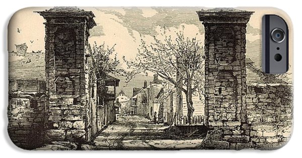 Horse And Buggy iPhone Cases - The City Gate - St. Augustine 1872 Engraving by Harry Fenn iPhone Case by Antique Engravings