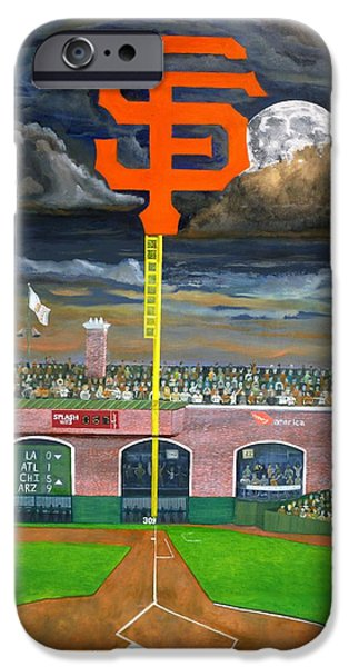 Baseball Stadiums Paintings iPhone Cases - The City Gets Even iPhone Case by Ryan Williams