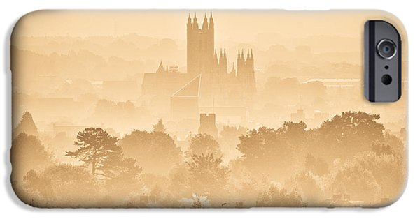 Mist iPhone Cases - The City of Canterbury iPhone Case by Ian Hufton
