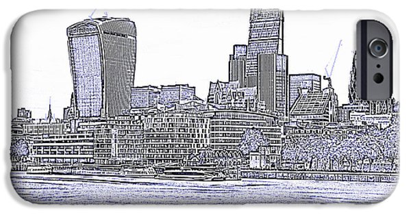Pen And Ink Photographs iPhone Cases - The City of London skyline lines iPhone Case by David French