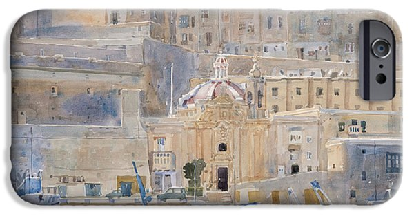 Maltese iPhone Cases - The City Of Stone, 2011 Wc On Paper iPhone Case by Lucy Willis