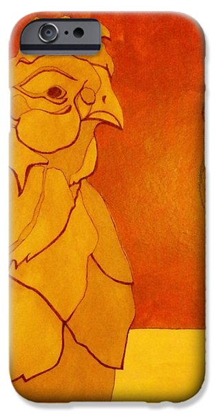 Representative Abstract Mixed Media iPhone Cases - The Clay Chicken iPhone Case by David Raderstorf