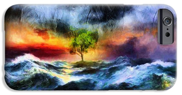 Drama Mixed Media iPhone Cases - The Clearing Of The Flood iPhone Case by Georgiana Romanovna