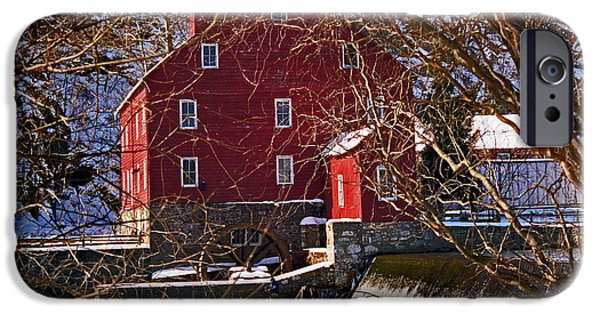 Red Barn In Winter iPhone Cases - The Clinton Nj Mill iPhone Case by Skip Willits