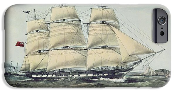 Sea iPhone Cases - The Clipper Ship Anglesey Print iPhone Case by Anonymous