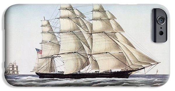 Ocean Drawings iPhone Cases - The Clipper Ship Flying Cloud iPhone Case by Anonymous