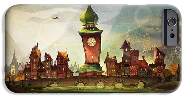 Witches iPhone Cases - The Clock Tower iPhone Case by Kristina Vardazaryan
