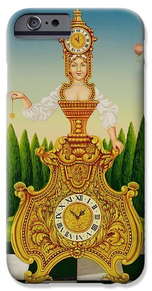 Hot Air Balloon iPhone Cases - The Clockmakers Wife, 1999 Oil & Tempera On Panel iPhone Case by Frances Broomfield