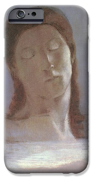 Intimacy Photographs iPhone Cases - The Closed Eyes, 1890 Oil On Paper iPhone Case by Odilon Redon