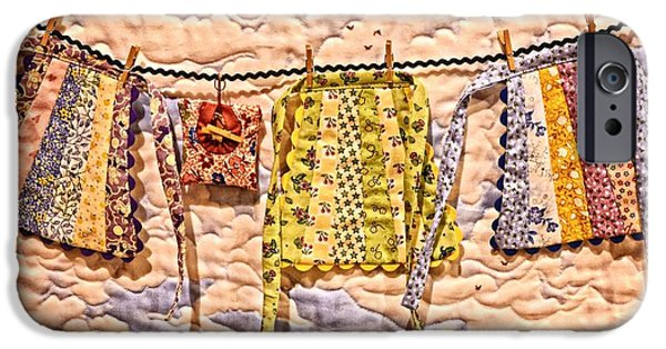 Quilt Blue Blocks iPhone Cases - The Clothes Line iPhone Case by Image Takers Photography LLC - Carol Haddon