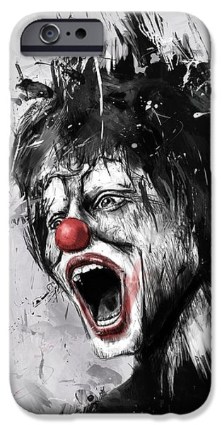 Surreal Mixed Media iPhone Cases - The Clown iPhone Case by Balazs Solti