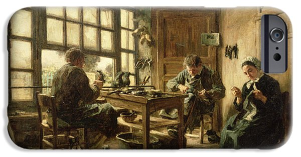 Labour iPhone Cases - The Cobblers, 1880 Oil On Canvas iPhone Case by Leon Augustin Lhermitte